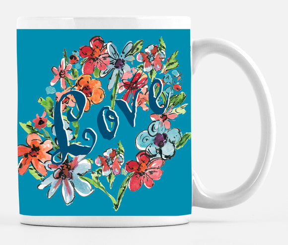 Love Turquoise Bouquet Large 15 ounce Mug - Mugs - Dreams After All
