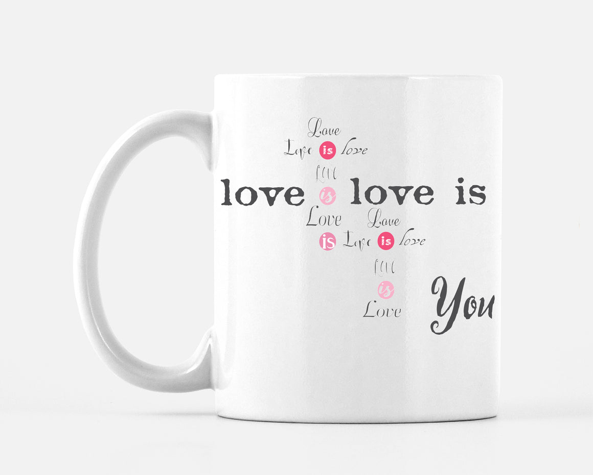 Love Is Love Pink and Grey Mug - Mugs - Dreams After All