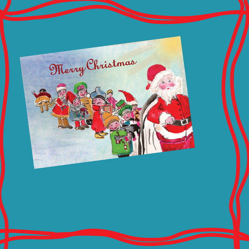6 CARDS - Mom's Children Follow Santa - Dreams After All