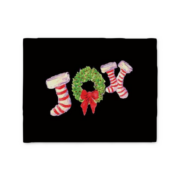 Joy Stockings on Black Placemat - Home Goods - Dreams After All