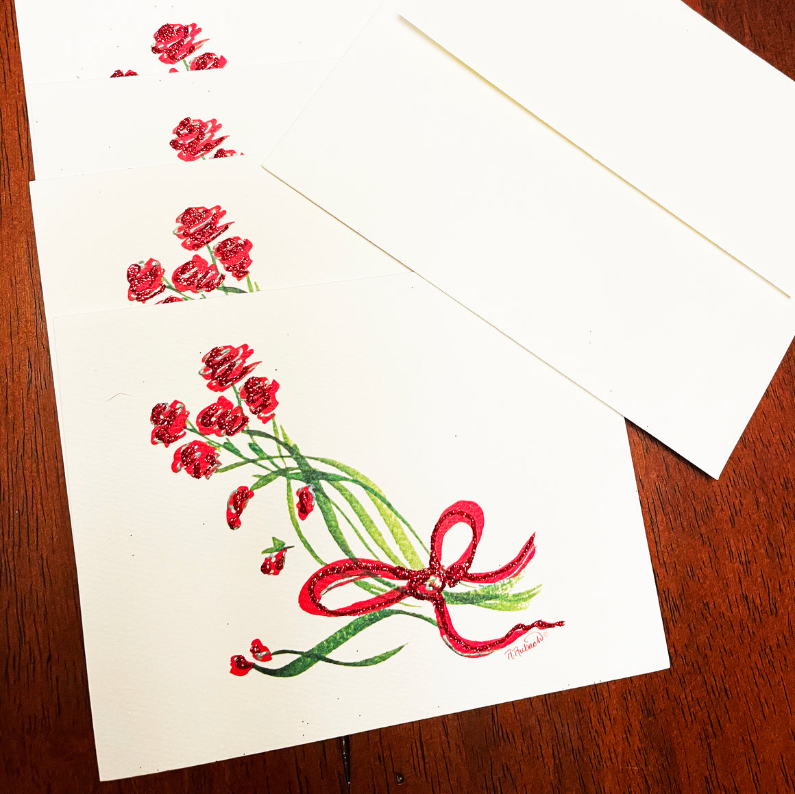 1, 6 or 12 NOTE CARDS - Red Roses Tied With A Bow