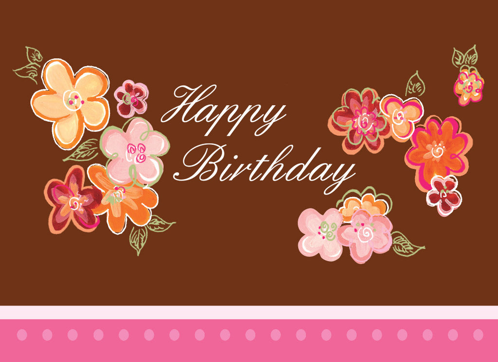 Brown & Pink BIrthday Card
