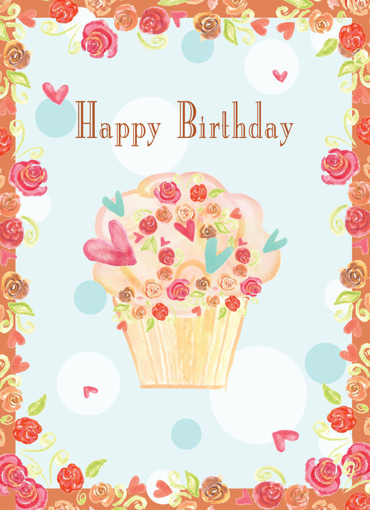 Rose Cupcake Birthday Card