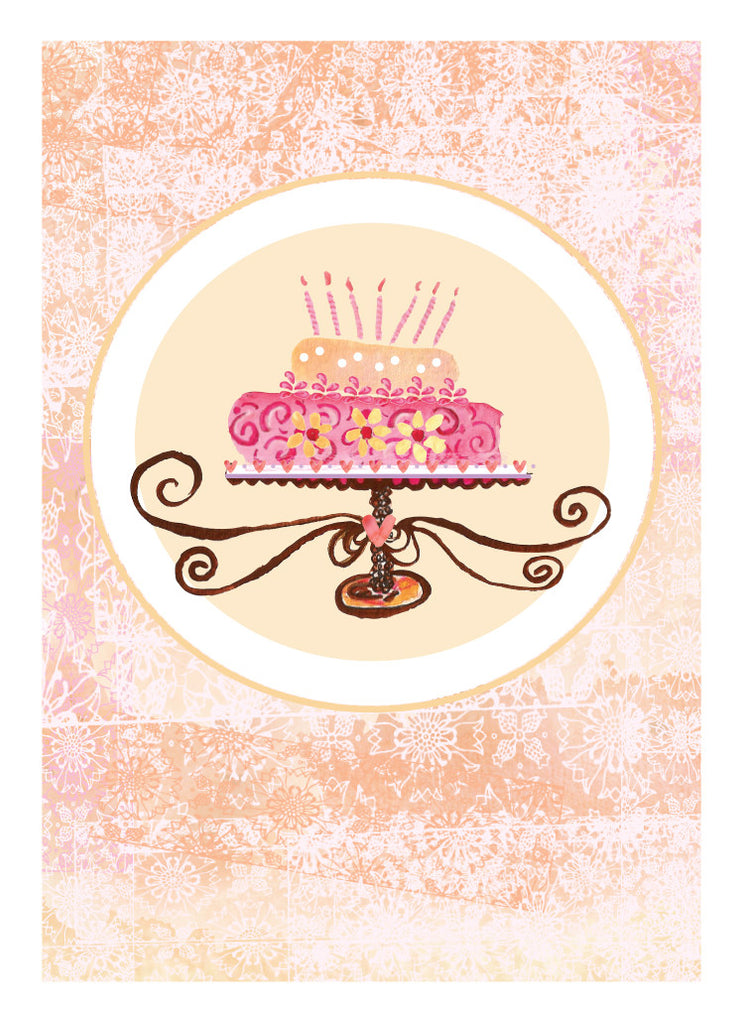 Champagne Cake Birthday Card - Dreams After All