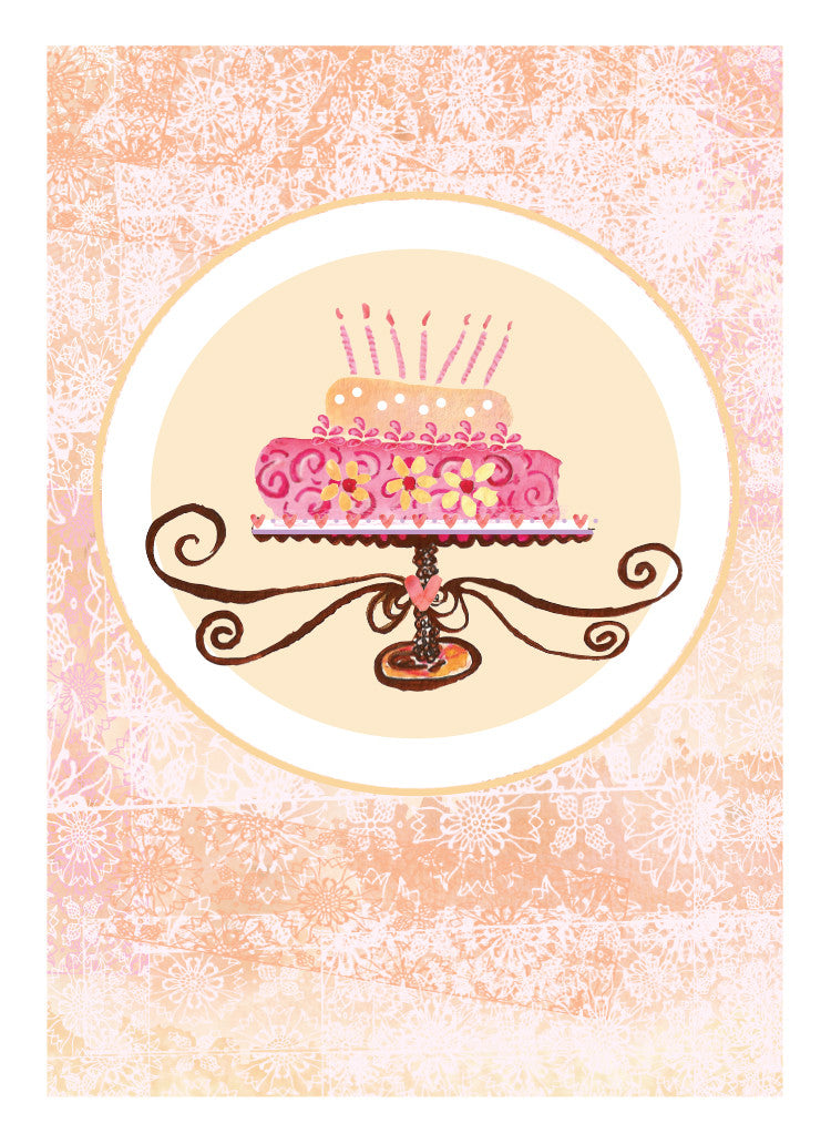 Champagne Cake Birthday Card