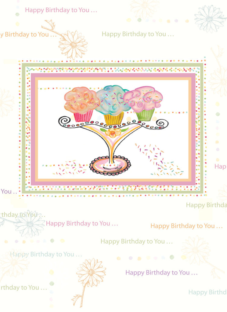 Three Cupcakes Happy Birthday Card