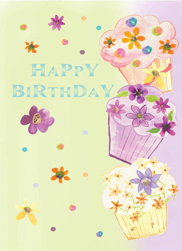 Purple Cupcake Birthday Greeting Card