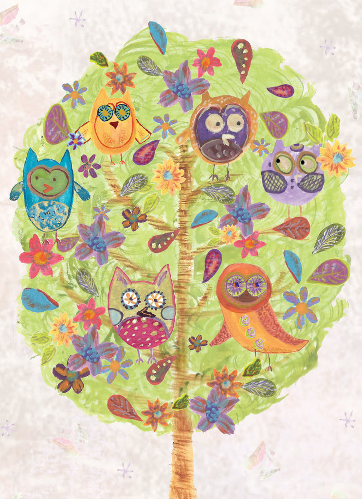 Owl Tree Birthday Card