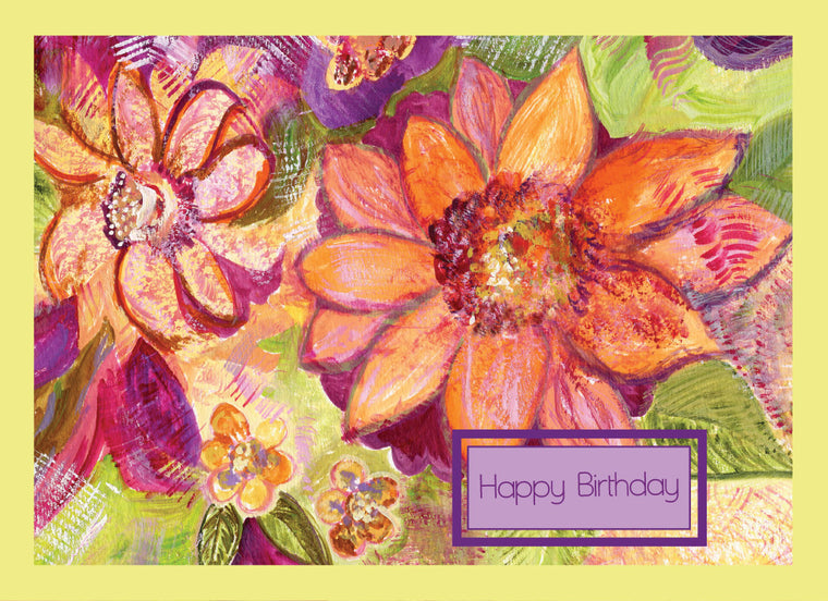 Pink Flower Happy Birthday Card