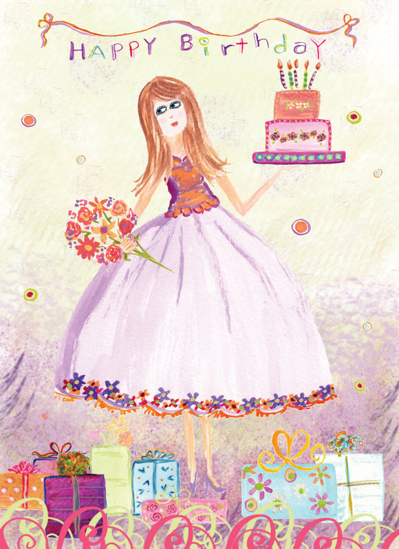 Purple Dress HappyBirthday Card - Greeting Card - Dreams After All