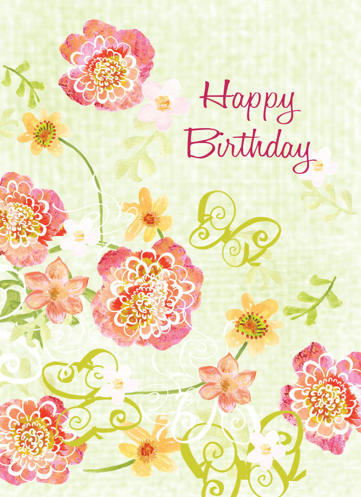 Lime Green Floral Birthday Card