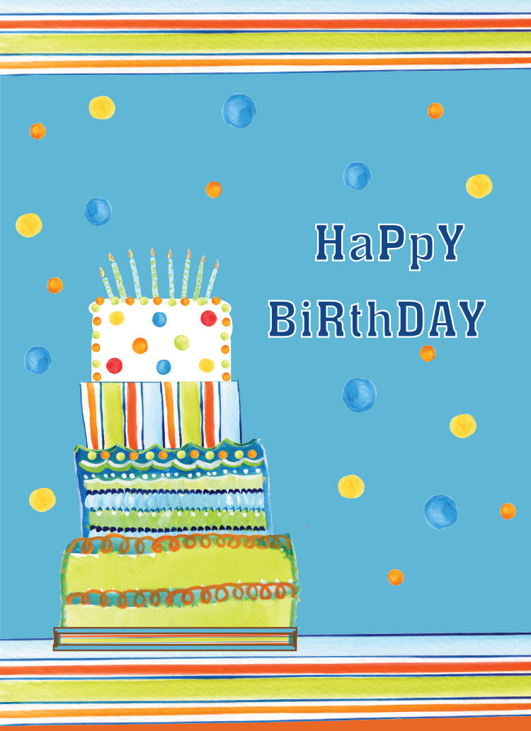 Blue Stripes Birthday Card