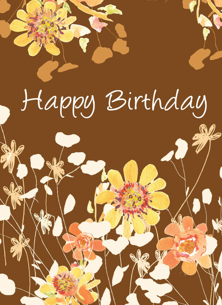 Brown Tall Flowers Birthday Card