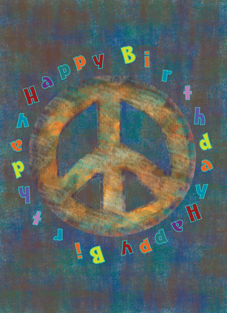 Brown Peace Birthday Card