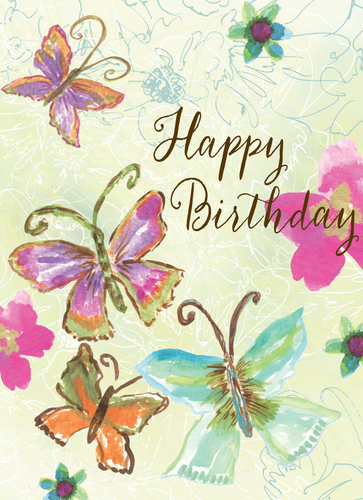 Four Butterfly Birthday Card