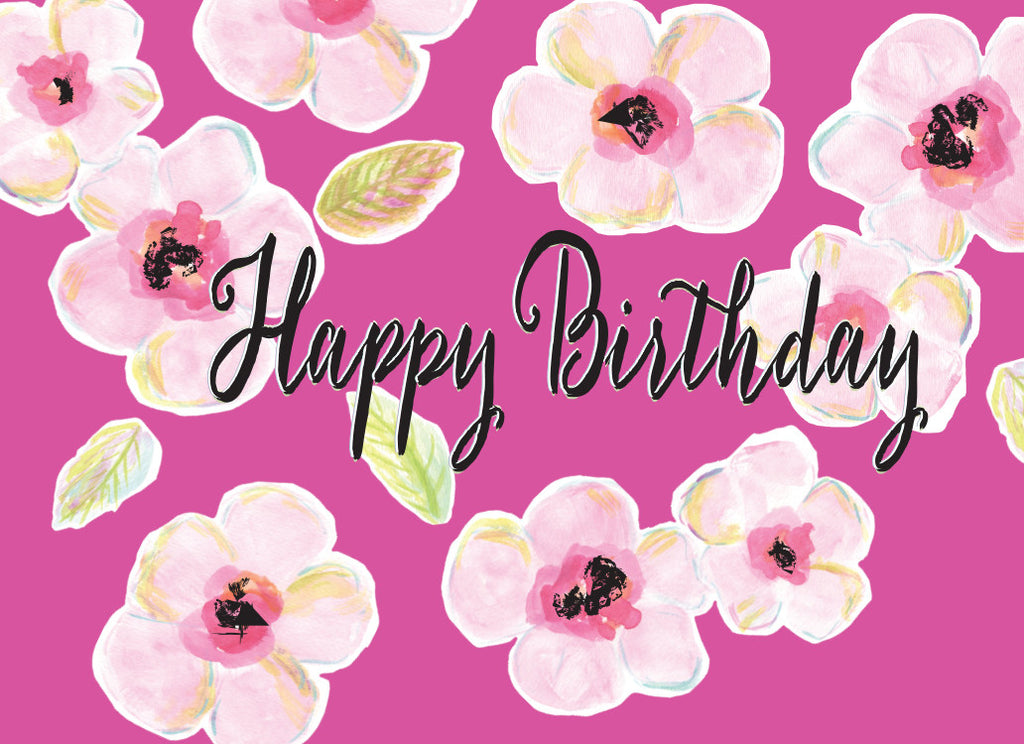 Bright Pink Floral Birthday Card