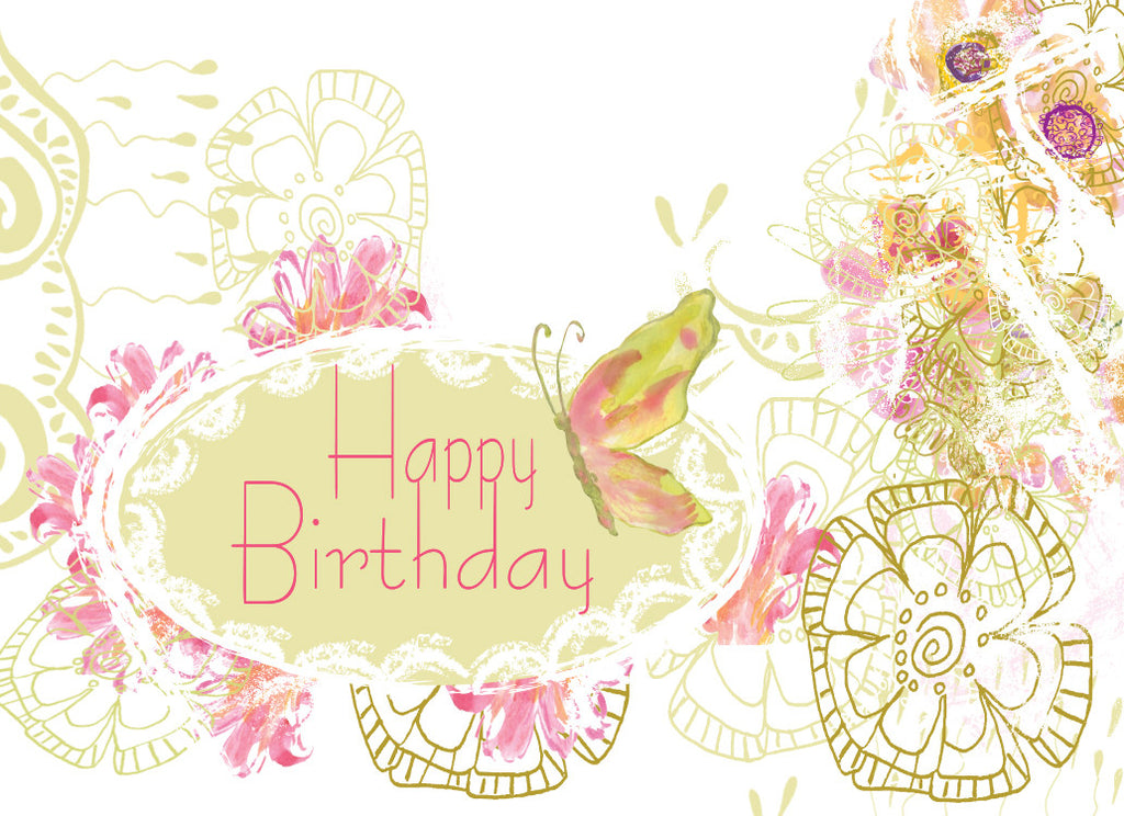 White Lace Happy Birthday Greeeting Card