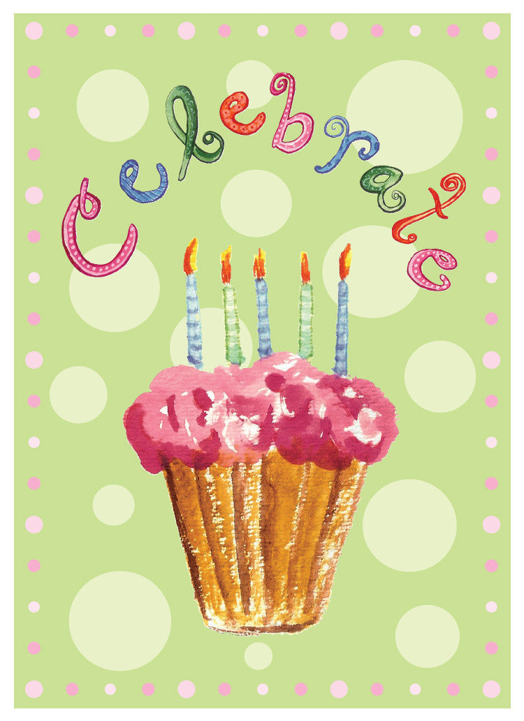 Celebrate Cupcake Birthday Card - Blank