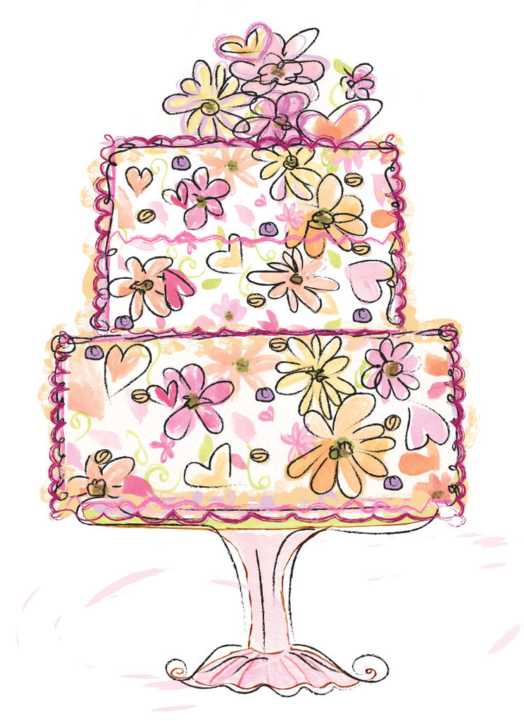 Floral Cake Birthay Card
