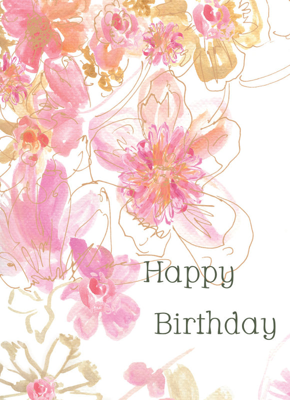 Watercolor Pink Birthday Card - Greeting Card - Dreams After All