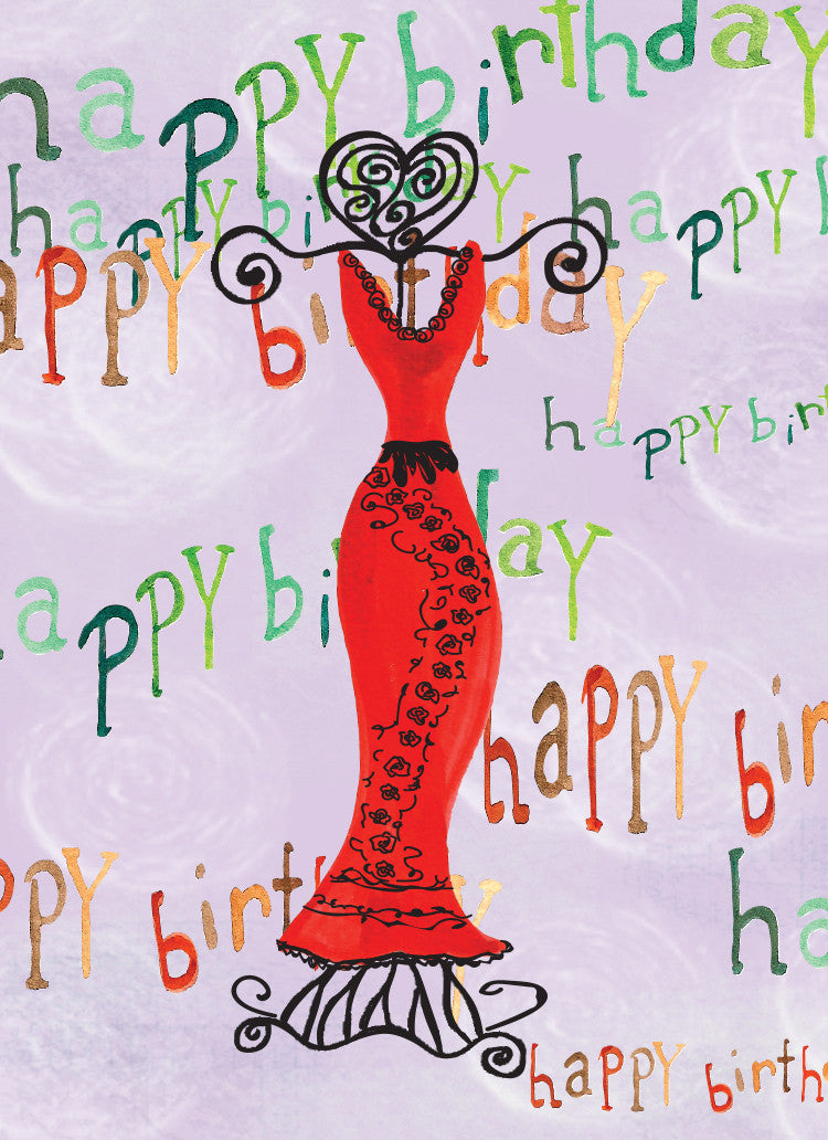 Red Dress Happy Birthday Card - Greeting Card - Dreams After All