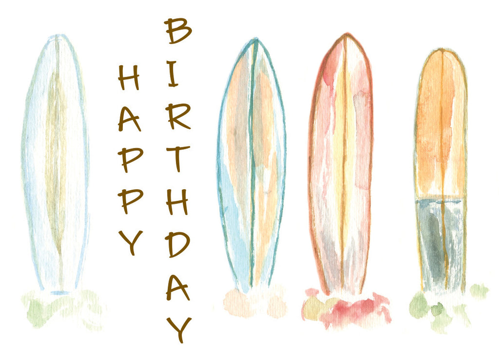 Surfboards Happy Birthday Card