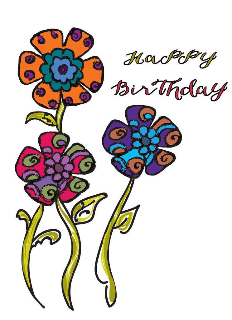 Psychedelic Flowers Birthday Card