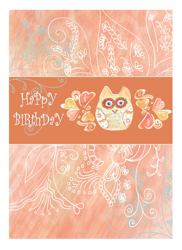 Owl Blank Happy Birthday Card