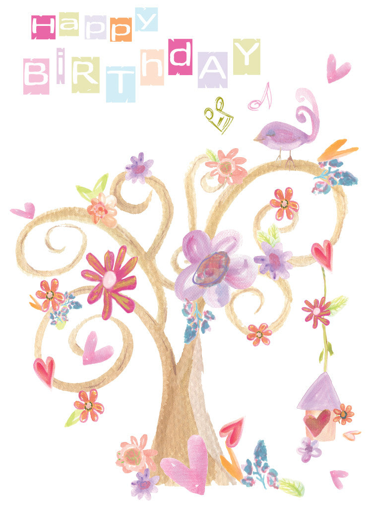 Happy Birthday Love Tree Greeting Card