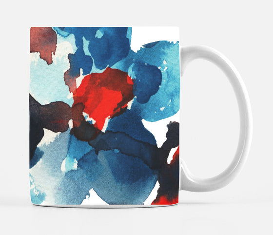 Patriotic Red White Blue Floral Large 15 ounce Ceramic Mug - Mugs - Dreams After All