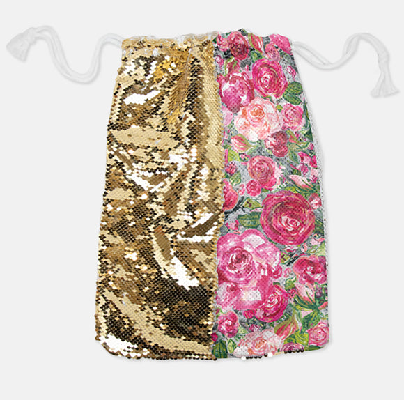 DRAWSTRING BAG - ROSE'S COTTAGE / GOLD SEQUINS - Dreams After All