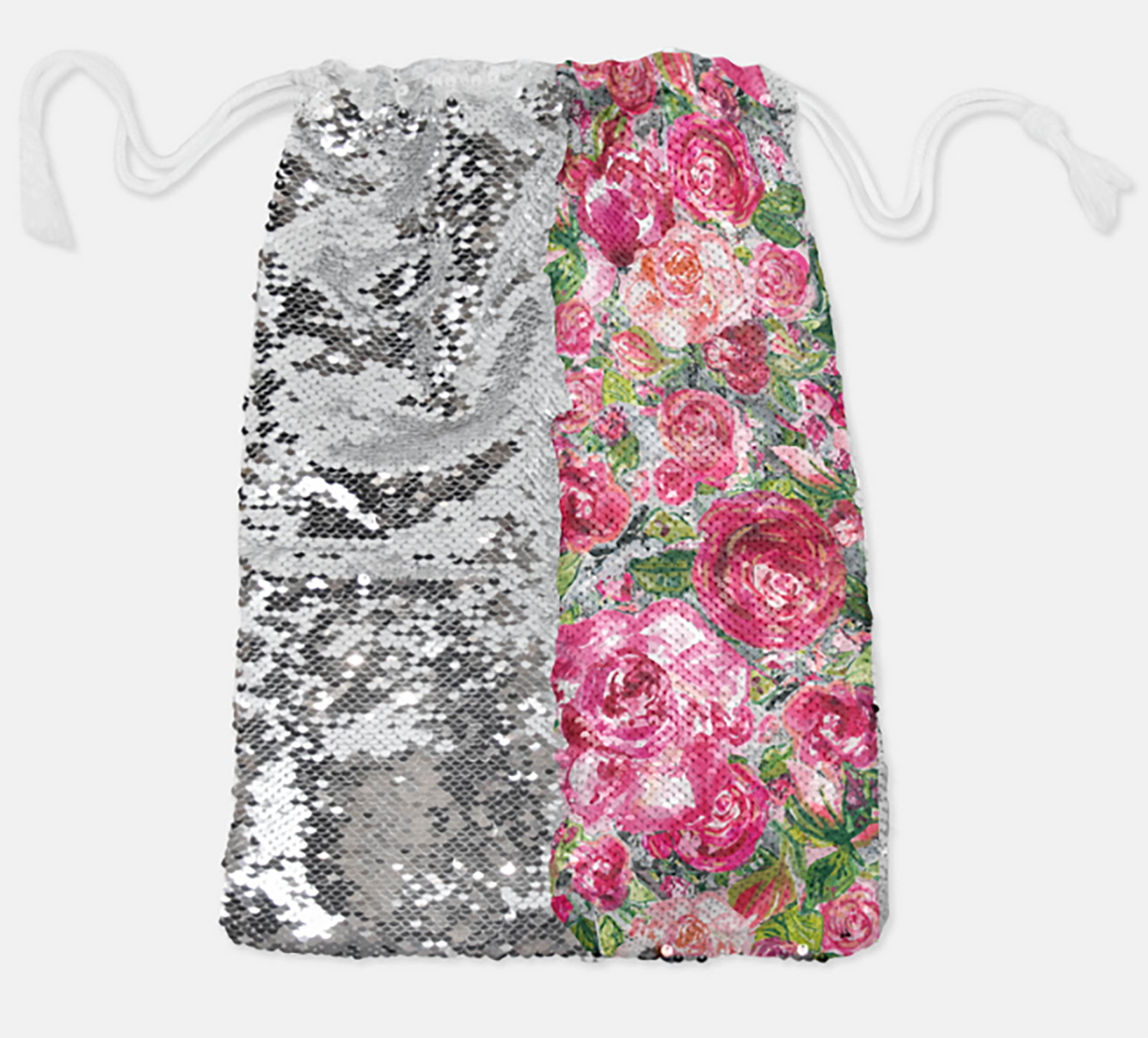 DRAWSTRING BAG - ROSE'S COTTAGE / SILVER SEQUINS - Dreams After All
