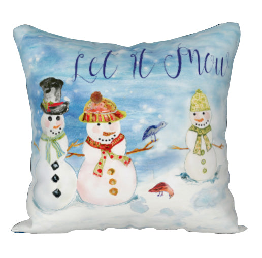 SNOWMAN LET IT SNOW Square Throw Pillow - COVER ONLY