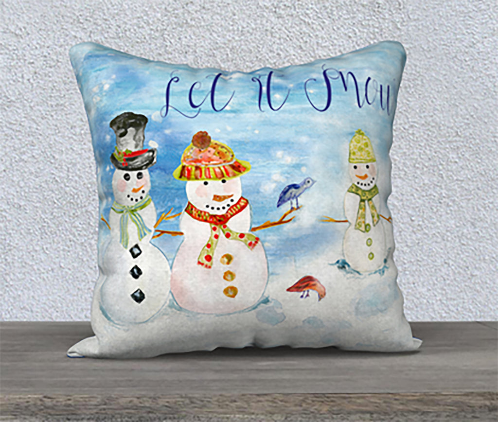 SNOWMAN LET IT SNOW Square Throw Pillow - COVER ONLY - Pillow - Dreams After All