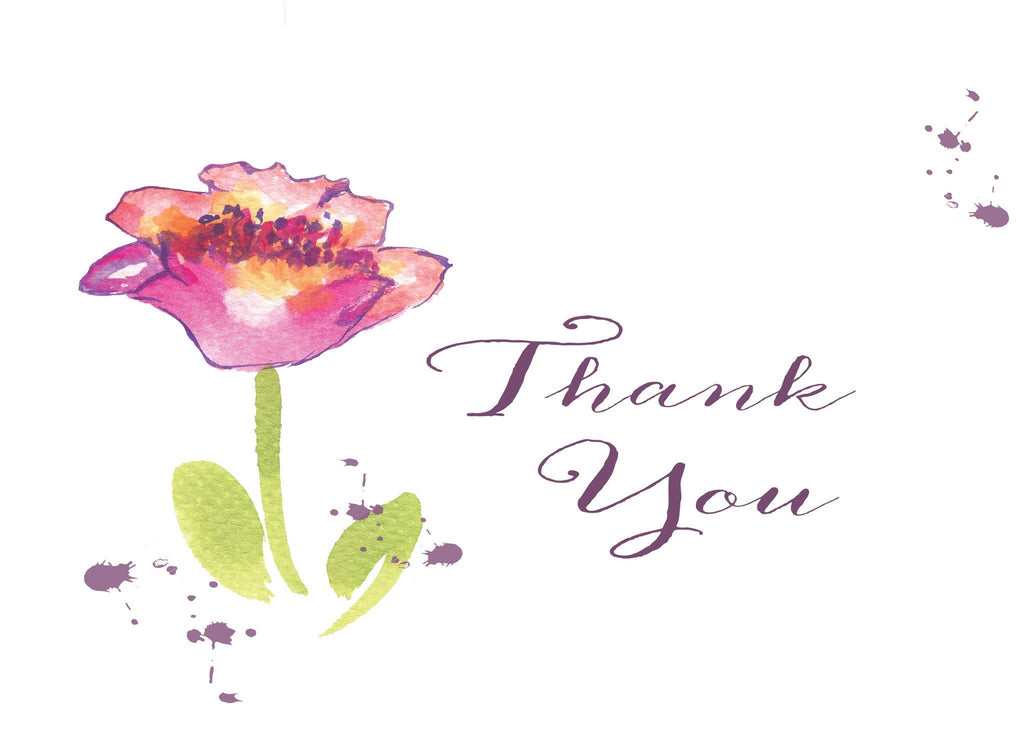 Thank You Dark Pink Tulip Blank Card
