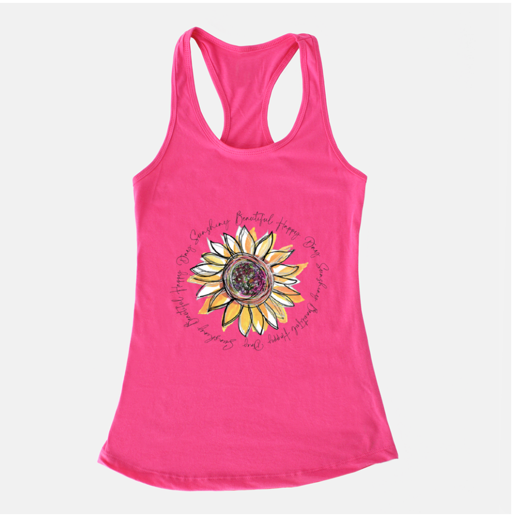 Sunflower Happy Day Inspire Bright Pink Racerback Tank - Dreams After All