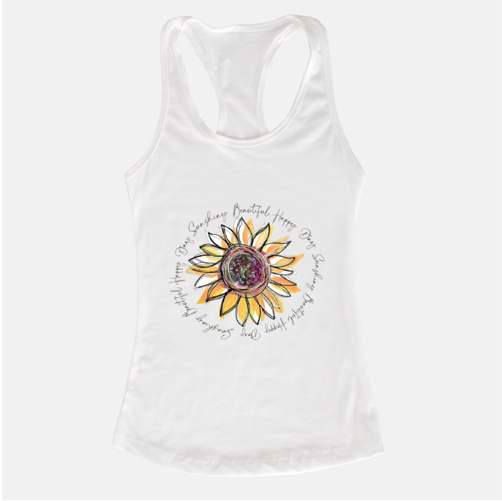 Sunflower Happy Day Inspire White Racerback Tank - Dreams After All