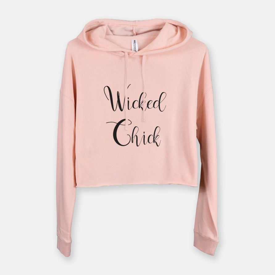 Copy of SWEATSHIRT - WICKED CHICK CROPPED WITH HOOD - BLUSH - Dreams After All