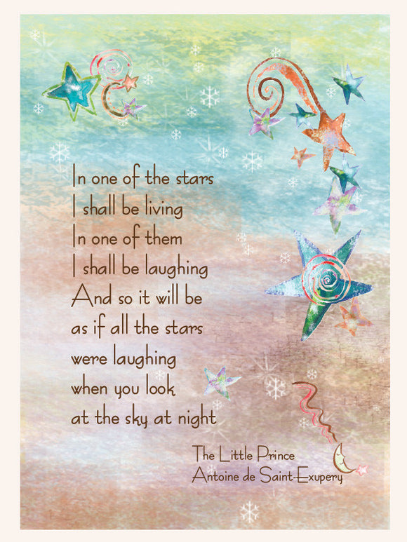 Little Prince St. Exupery Sympathy Card. Teal and gold background with quote in text. In one of the stars I shall be living. In one of them I shall be laughing, and so it will be as if all the stars were laughing when you look at the sky at night.