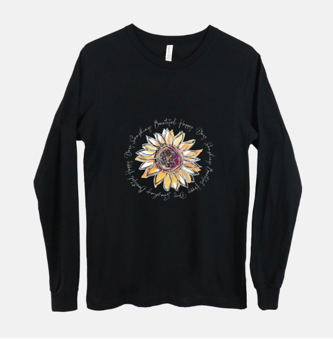Sunflower Happy Day Inspiration Long Sleeved Black T-Shirt