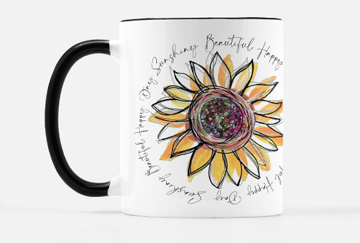 Beautiful Day Sunflower Black Mug 11 oz. - Dreams After All
