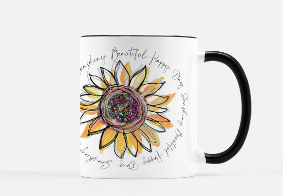 Mug Beautiful Day Sunflower Black Rim - Dreams After All