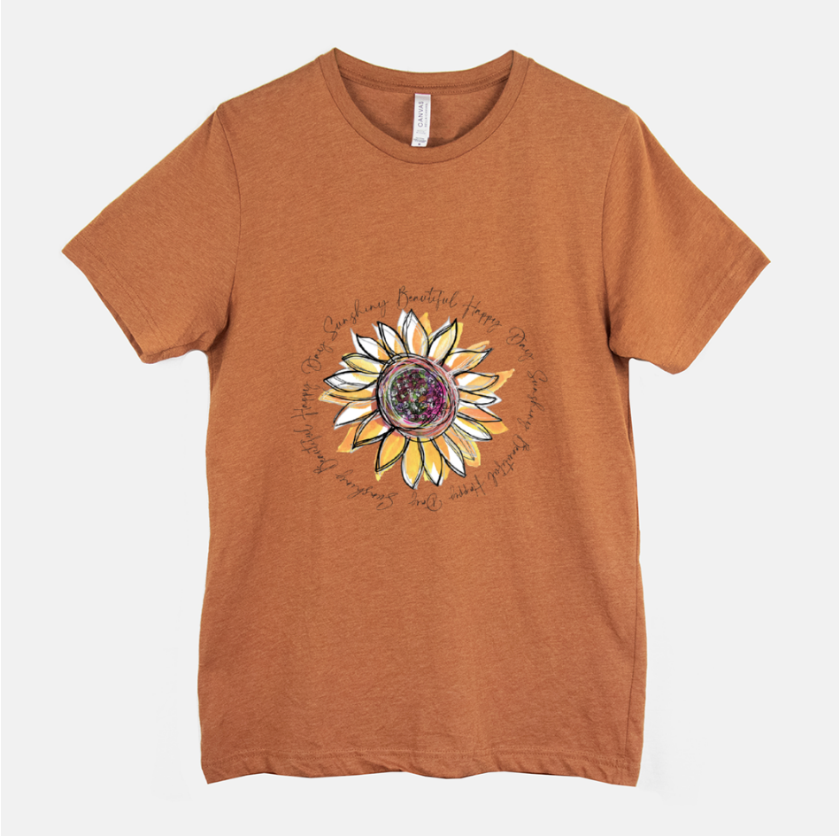 Sunflower Happy Day Inspire Heather Autumn Short Sleeved T-Shirt (Unisex) - Dreams After All