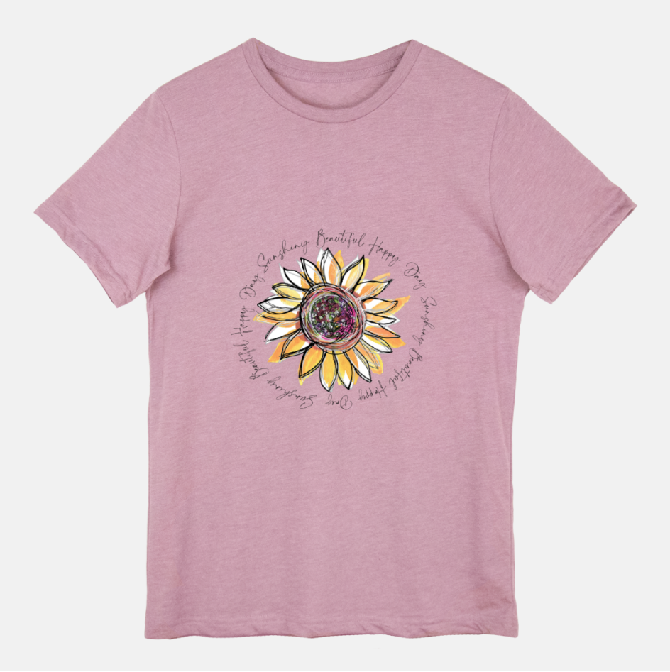 Sunflower Happy Day Heather Orchid Short Sleeved T-Shirt (Unisex)