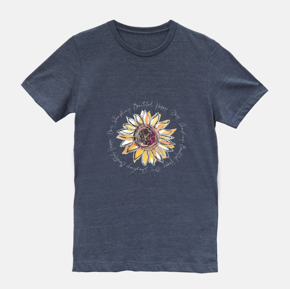 Sunflower Happy Day Heather Midnight Navy Short Sleeved T-Shirt (Unisex) - Dreams After All