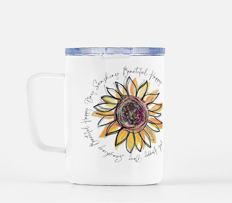 Sunflower - Beautiful Happy Day Mug with Lid   -  10 Ounces