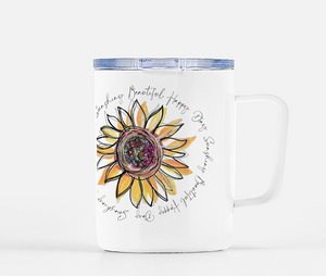Sunflower - Beautiful Happy Day Mug with Lid   -  10 Ounces - Dreams After All