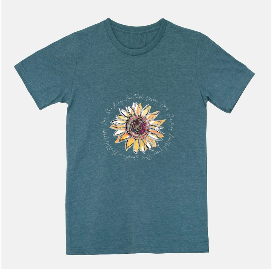 Sunflower Happy Day Heather Deep Teal Short Sleeved T-Shirt (Unisex) - Dreams After All