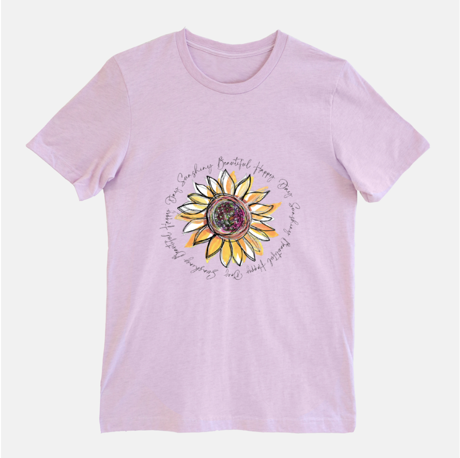 Sunflower Happy Day Heather Prism Lilac Short Sleeved T-Shirt (Unisex) - Dreams After All