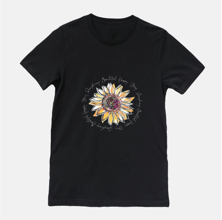 Sunflower Happy Day Black Short Sleeved T-Shirt (Unisex) - Dreams After All